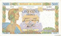 500 Francs LA PAIX FRANCE  1942 F.32.30 SUP+