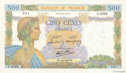 500 Francs LA PAIX FRANCE  1942 F.32.39 SUP