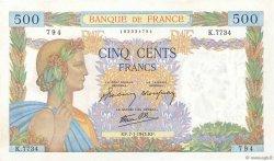 500 Francs LA PAIX FRANCE  1943 F.32.44 SUP+