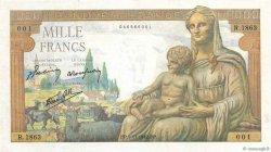 1000 Francs DÉESSE DÉMÉTER FRANCE  1942 F.40.10 SPL