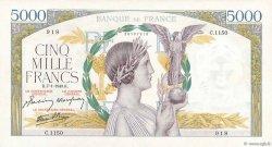 5000 Francs VICTOIRE Impression à plat FRANCE  1943 F.46.46 pr.SUP