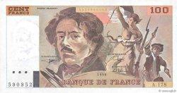 100 Francs DELACROIX imprimé en continu FRANCE  1990 F.69bis.02c SUP