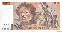 100 Francs DELACROIX imprimé en continu FRANCE  1990 F.69bis.02e1 SUP