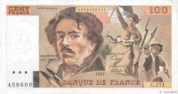 100 Francs DELACROIX imprimé en continu FRANCE  1991 F.69bis.03a3 pr.TTB