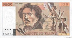 100 Francs DELACROIX imprimé en continu FRANCE  1991 F.69bis.03a4 TTB+
