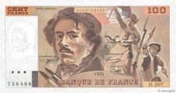 100 Francs DELACROIX imprimé en continu FRANCE  1993 F.69bis.05 SPL+