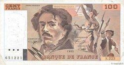100 Francs DELACROIX imprimé en continu FRANCE  1993 F.69bis.07 TB+