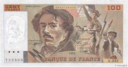 100 Francs DELACROIX imprimé en continu FRANCE  1993 F.69bis.08 SPL