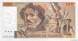 100 Francs DELACROIX  UNIFACE FRANCE  1995 F.69U.07 SUP