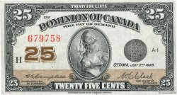 25 Cents CANADA  1923 P.011c TB+