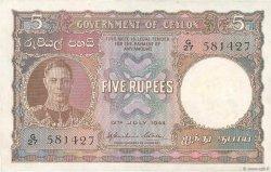 5 Rupees CEYLAN  1944 P.36a SUP+
