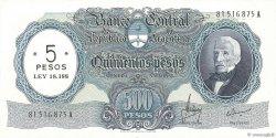 5 Pesos sur 500 Pesos ARGENTINE  1969 P.283