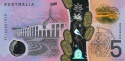 5 Dollars AUSTRALIE  2016 P.62 NEUF