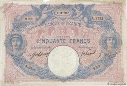 50 Francs BLEU ET ROSE  FRANCE  1907 F.14.20 pr.TB