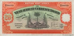 20 Shillings  AFRIQUE OCCIDENTALE BRITANNIQUE  1951 P.08b SUP