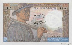 10 Francs MINEUR FRANCE  1942 F.08.03 SPL+