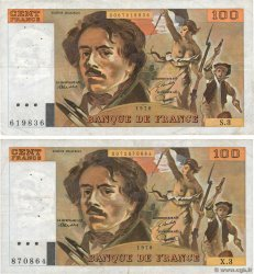 100 Francs DELACROIX Lot FRANCE  1978 F.68.03 et F.69.01b