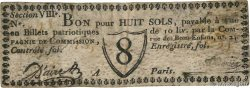 8 Sols  FRANCE regionalism and various Paris 1791 Kc.75.075