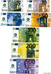 Lot de 7 Billets EUROS Fantaisie  Échantillon FRANCE regionalism and various  2001