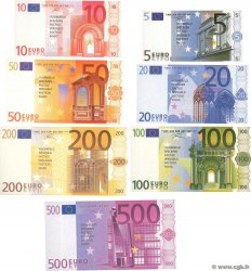 Lot de 7 Billets Spécimens EUROS Fantaisie  Échantillon FRANCE regionalism and various  2001