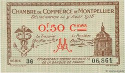 50 Centimes  FRANCE regionalism and miscellaneous Montpellier 1915 JP.085.01