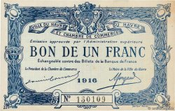 1 Franc  FRANCE regionalism and miscellaneous Le Havre 1916 JP.068.15