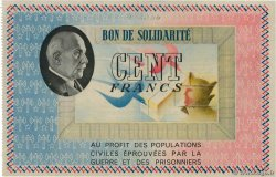 100 Francs BON DE SOLIDARITÉ  FRANCE regionalism and miscellaneous  1941 KL.10C1