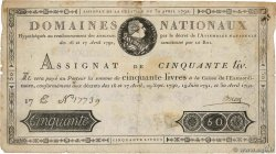 50 Livres FRANCE  1792 Ass.28a B+