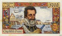 5000 Francs HENRI IV FRANCE  1957 F.49.02 pr.SPL