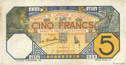 5 Francs DAKAR AFRIQUE OCCIDENTALE FRANÇAISE (1895-1958)  1932 P.05Bf TTB