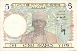 5 Francs AFRIQUE OCCIDENTALE FRANÇAISE (1895-1958)  1936 P.21 SUP