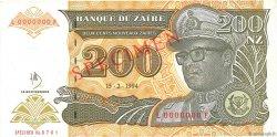 200 Nouveaux Zaïres ZAÏRE  1994 P.62s pr.NEUF