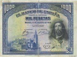 1000 Pesetas ESPAGNE  1928 P.078a TB