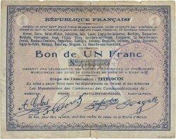 1 Franc FRANCE régionalisme et divers HIRSON 1915 JP.02-1188 TTB
