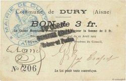 3 Francs FRANCE régionalisme et divers DURY 1915 JP.02-0616 TTB
