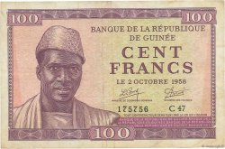 100 Francs GUINÉE  1958 P.07 TB à TTB