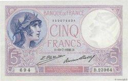 5 Francs VIOLET FRANCE  1926 F.03.10 SUP+
