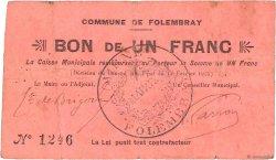 1 Franc FRANCE régionalisme et divers FOLEMBRAY 1915 JP.02-0915 TB