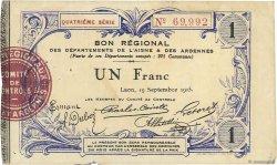 1 Franc FRANCE régionalisme et divers LAON 1915 JP.02-1302 TTB+