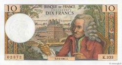 10 Francs VOLTAIRE FRANCE  1967 F.62.26 SUP+ à SPL