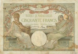 50 Francs MADAGASCAR  1937 P.38 B+