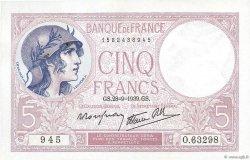 5 Francs VIOLET modifié FRANCE  1939 F.04.10 SUP à SPL