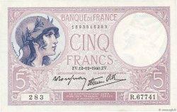 5 Francs VIOLET modifié FRANCE  1940 F.04.17 pr.NEUF