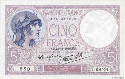 5 Francs VIOLET modifié FRANCE  1940 F.04.15 SUP+
