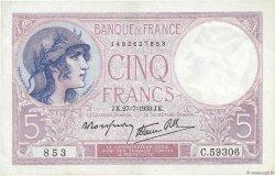 5 Francs VIOLET modifié FRANCE  1939 F.04.03 SUP+
