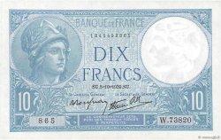 10 Francs MINERVE modifié FRANCE  1939 F.07.10 SPL