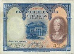 500 Pesetas ESPAGNE  1927 P.073c TTB+