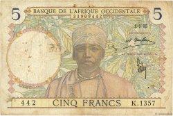 5 Francs type 1934 AFRIQUE OCCIDENTALE FRANÇAISE (1895-1958)  1935 P.21 TB