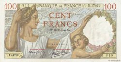 100 Francs SULLY FRANCE  1940 F.26.43 SUP