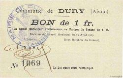 1 Franc FRANCE régionalisme et divers DURY 1915 JP.02-0614 SPL